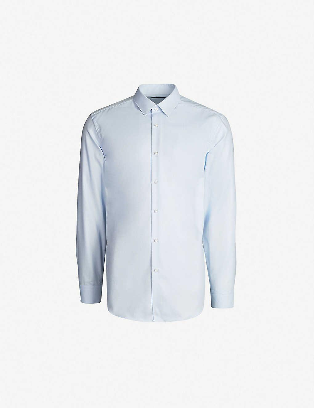 e7a26f8fa0a5 BOSS - Micro check-patterned slim-fit cotton shirt | Selfridges.com