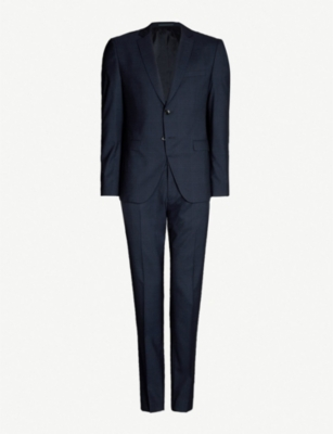 BOSS Checked regular-fit wool suit