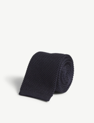 BOSS Knitted square end silk tie