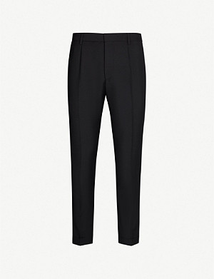BOSS Regular-fit straight wool and mohair-blend trousers