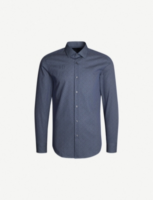 BOSS Geometric-print slim-fit cotton shirt