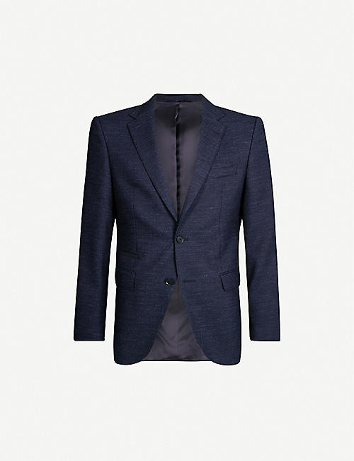 BOSS Regular-fit cotton and wool-blend blazer