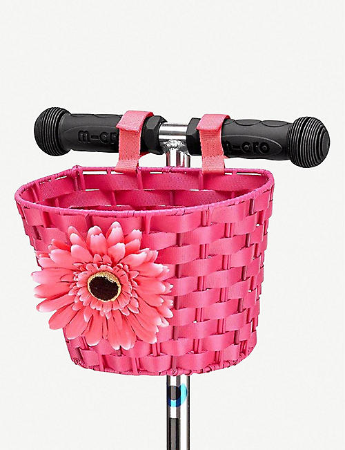 MICRO SCOOTER Floral-appliquéd woven scooter basket