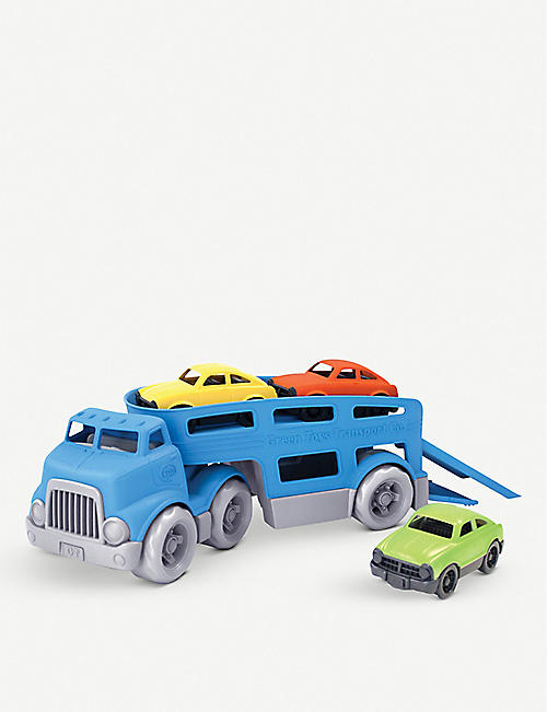 GREEN TOYS: Recycled-plastic car carrier toy set