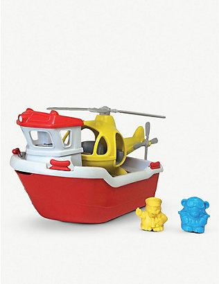GREEN TOYS: Recycled-plastic rescue boat and helicopter toy set