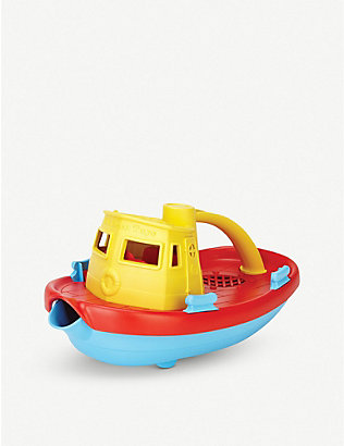 GREEN TOYS: Recycled-plastic tugboat toy with spout