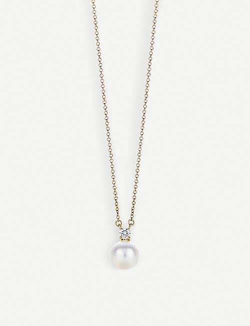 TIFFANY & CO 18ct gold, diamond and pearl necklace