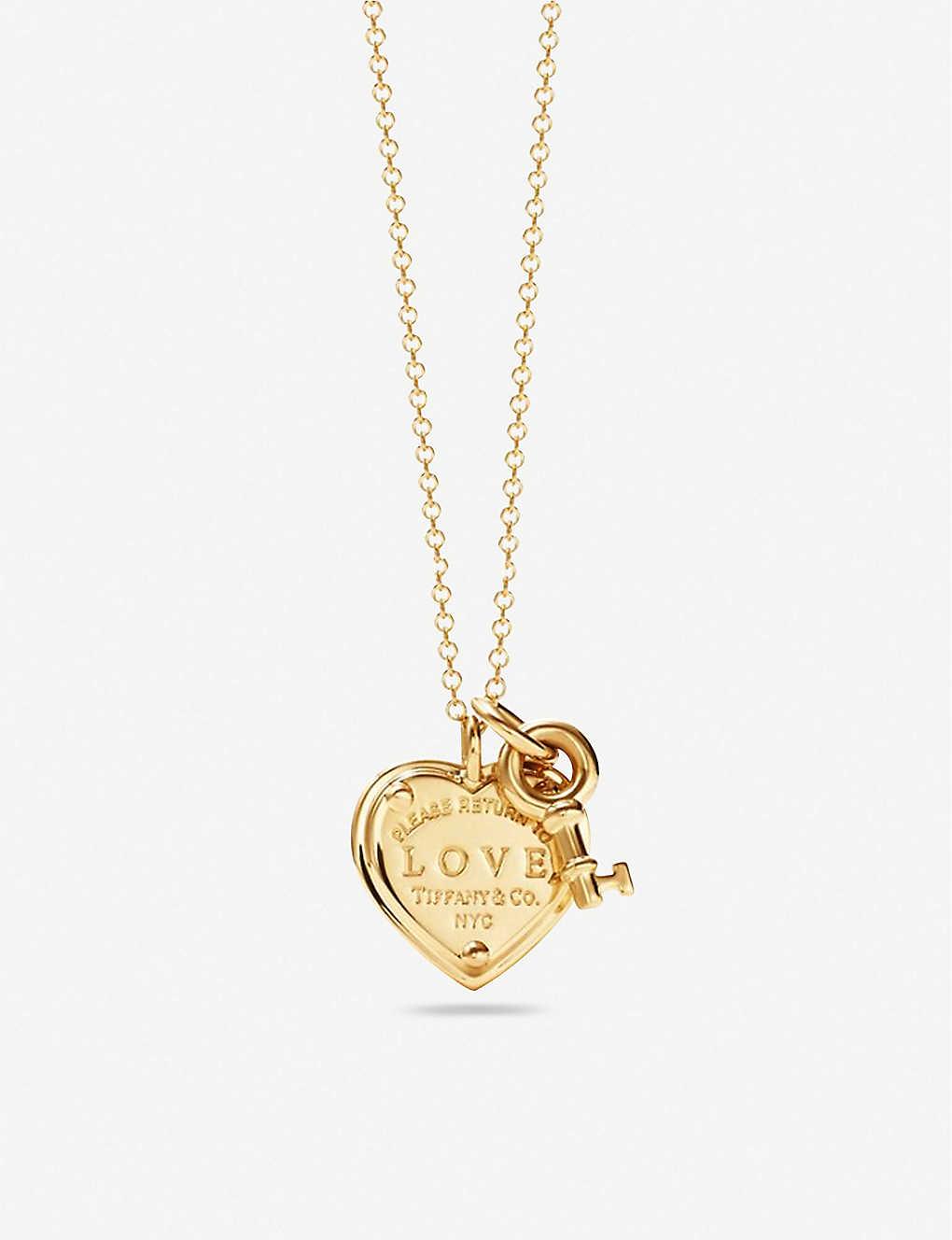 Tiffany Co Return To Tiffany Love Heart Tag Key Gold Pendant Selfridges Com