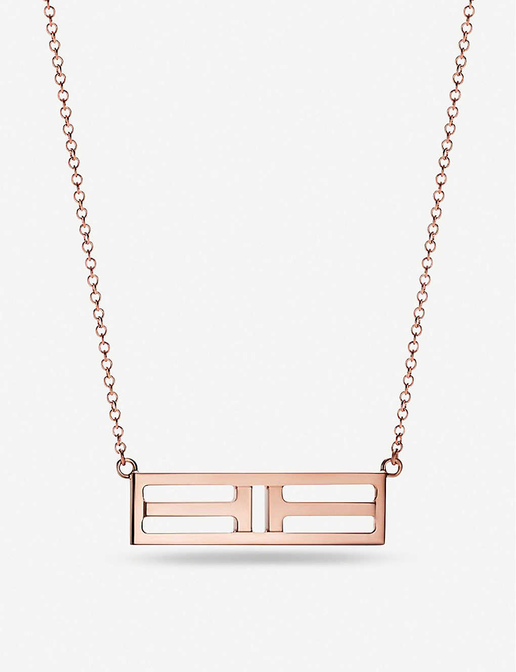 TIFFANY & CO: Tiffany T Two Open Horizontal Bar rose-gold pendant