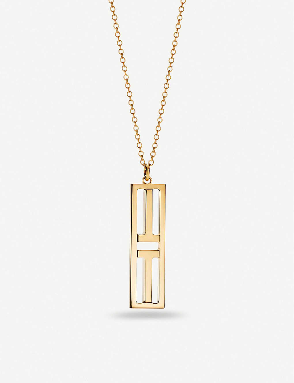 TIFFANY & CO: Two Open Vertical Bar 18ct gold pendant