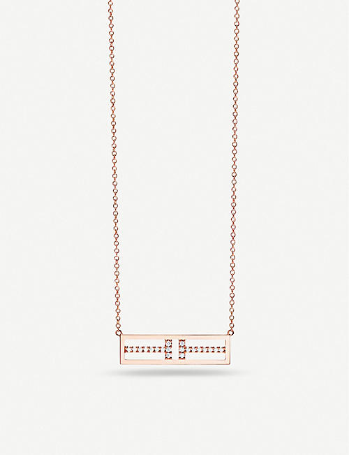 TIFFANY & CO Two Open Horizontal Bar 18ct rose-gold pendant