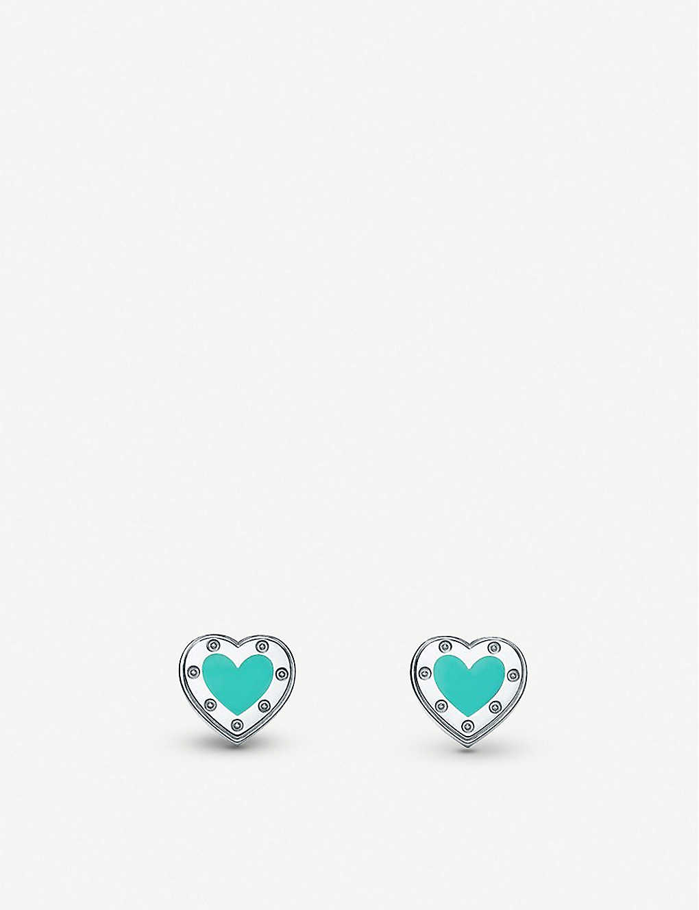 TIFFANY & CO: Love Heart enamelled sterling silver stud earrings