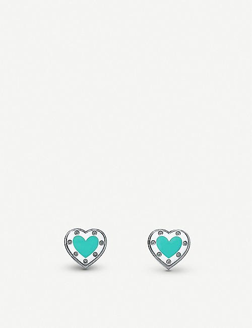 TIFFANY & CO Love Heart enamelled sterling silver stud earrings