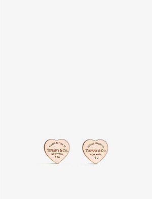 TIFFANY & CO Return to Tiffany mini heart tag 18ct rose-gold earrings