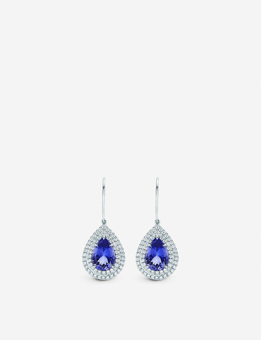 5dcb0ebd5 TIFFANY & CO - Soleste platinum, diamond and tanzanite earrings ...