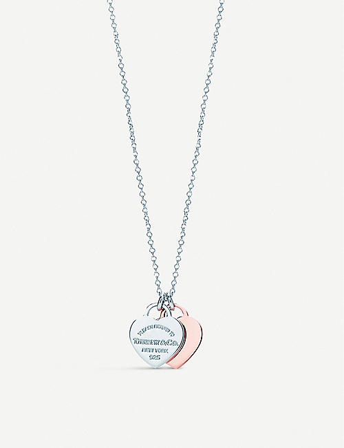 TIFFANY & CO Return to Tiffany double heart sterling silver and Rubedo pendant