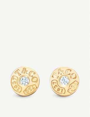TIFFANY & CO Tiffany 1837 18ct gold and diamond inscribed circle earrings