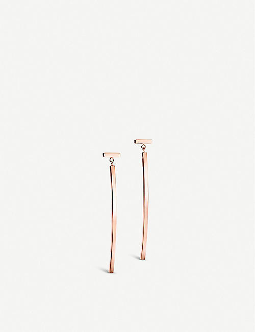 TIFFANY & CO Tiffany T 18ct rose-gold wire bar earrings