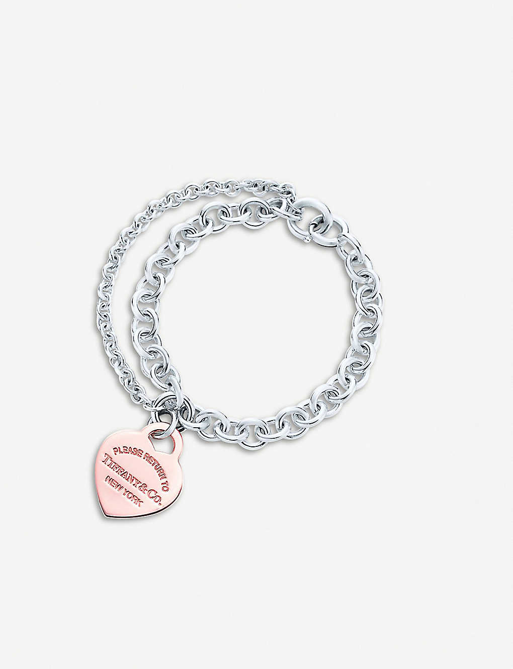 Tiffany Co Return To Tiffany Double Chain Heart Tag 18ct Rose Gold Plated Sterling Silver Bracelet Selfridges Com