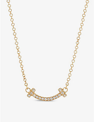 TIFFANY & CO: Tiffany T Smile 18ct yellow-gold and diamond necklace