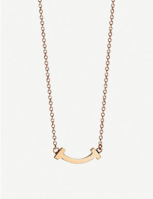 TIFFANY & CO: Tiffany T Smile 18ct rose-gold necklace