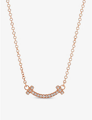 TIFFANY & CO: Tiffany T Smile 18ct rose-gold and diamond necklace