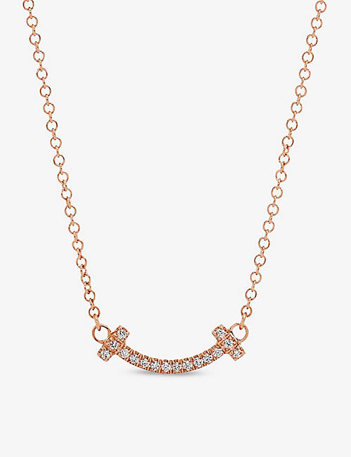 TIFFANY & CO Tiffany T Smile 18ct rose-gold and diamond necklace