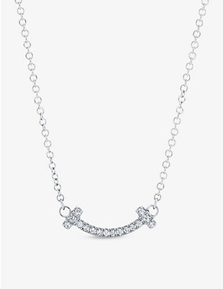 TIFFANY & CO: Tiffany T Smile 18ct white-gold and diamond necklace