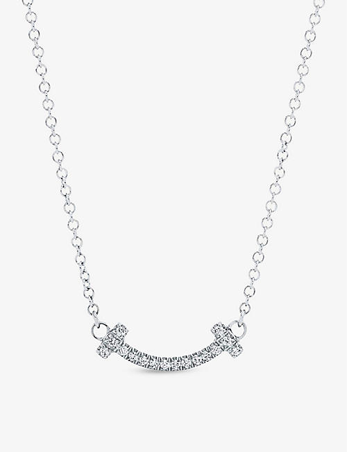 best sneakers a0a00 329d5 TIFFANY   CO Tiffany T Smile 18ct white-gold and diamond necklace
