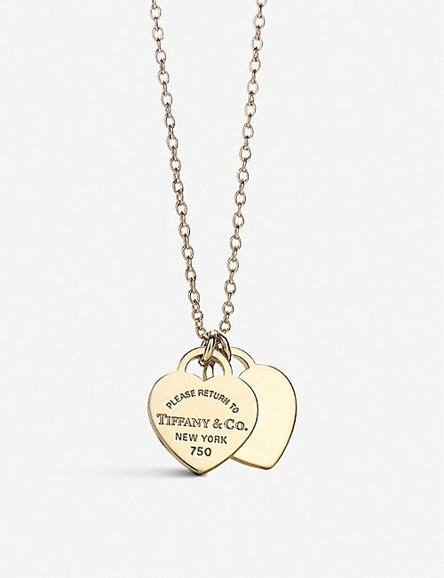 c929d77e9 TIFFANY & CO Mini Double Heart Tag 18ct yellow-gold pendant necklace
