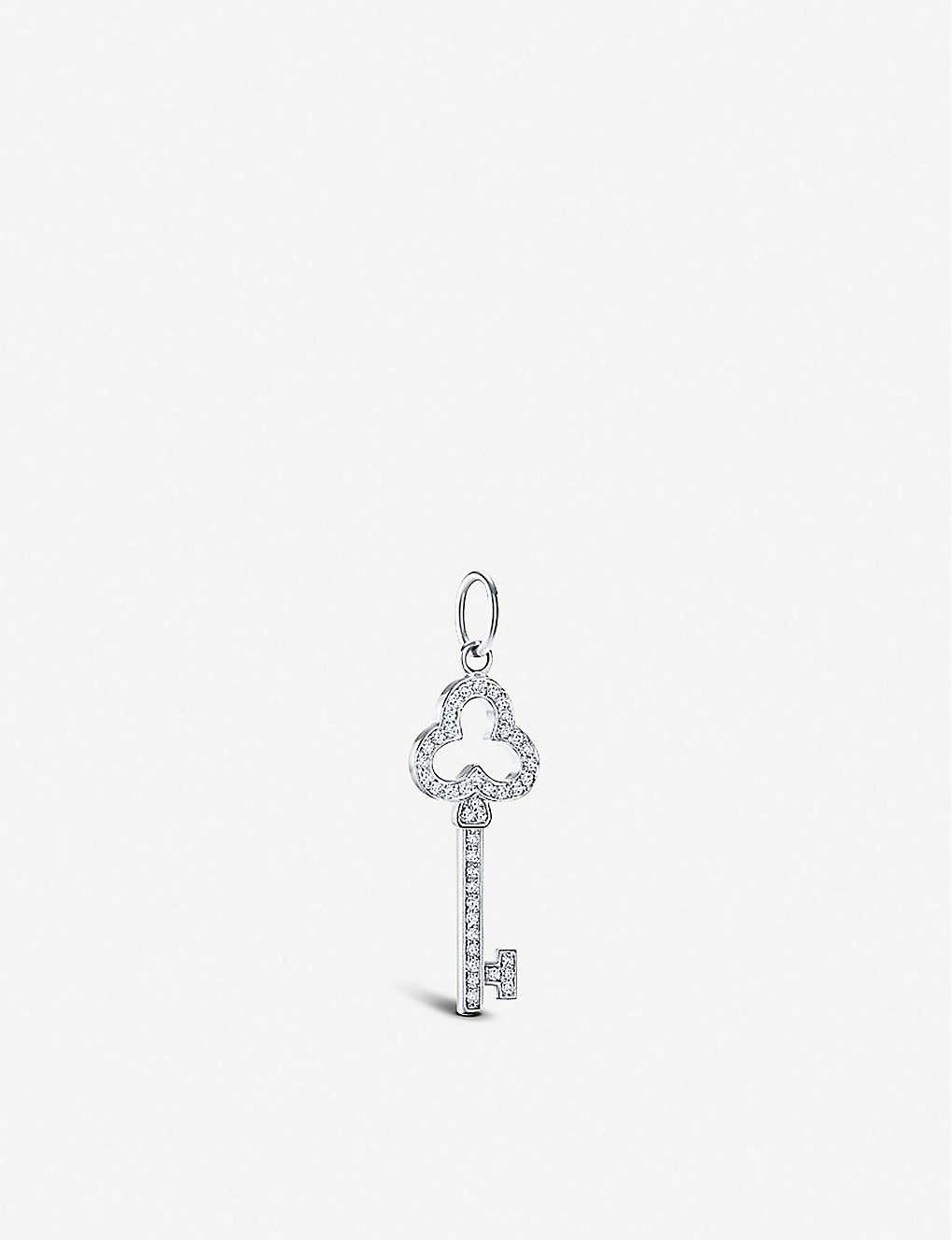 TIFFANY & CO: Open Trefoil 18ct white-gold and diamond key pendant