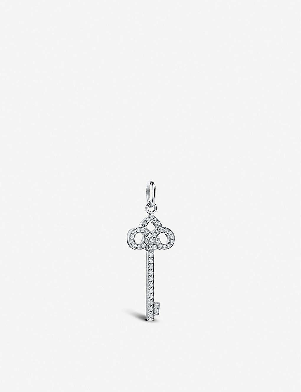 TIFFANY & CO: Keys Fleur De Lis 18ct white-gold and diamond key pendant