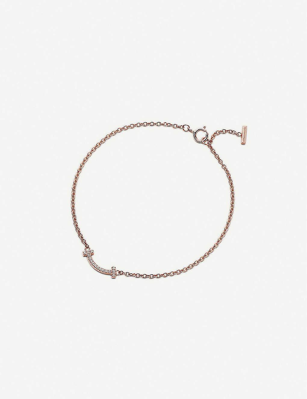 e39237860 Tiffany T Smile 18ct rose-gold and diamond bracelet - 18k rose gold ...