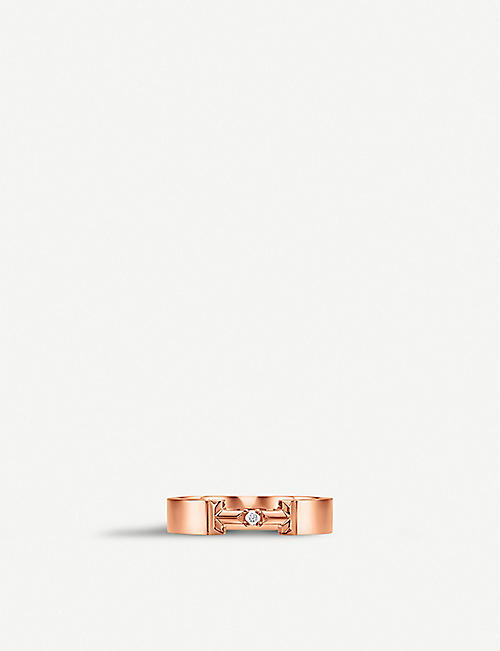 dbe5937b2 TIFFANY & CO Tiffany T True Diamond link 18ct rose-gold and diamond ring
