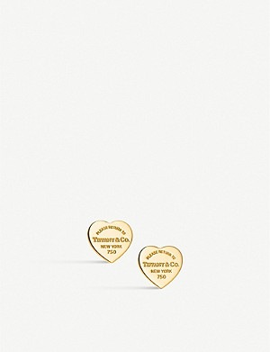 TIFFANY & CO Mini Heart Tag 18ct gold earrings
