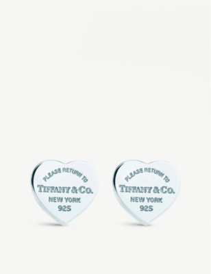 e32406581 TIFFANY & CO - Return to Tiffany mini heart tag earrings in sterling silver  | Selfridges.com