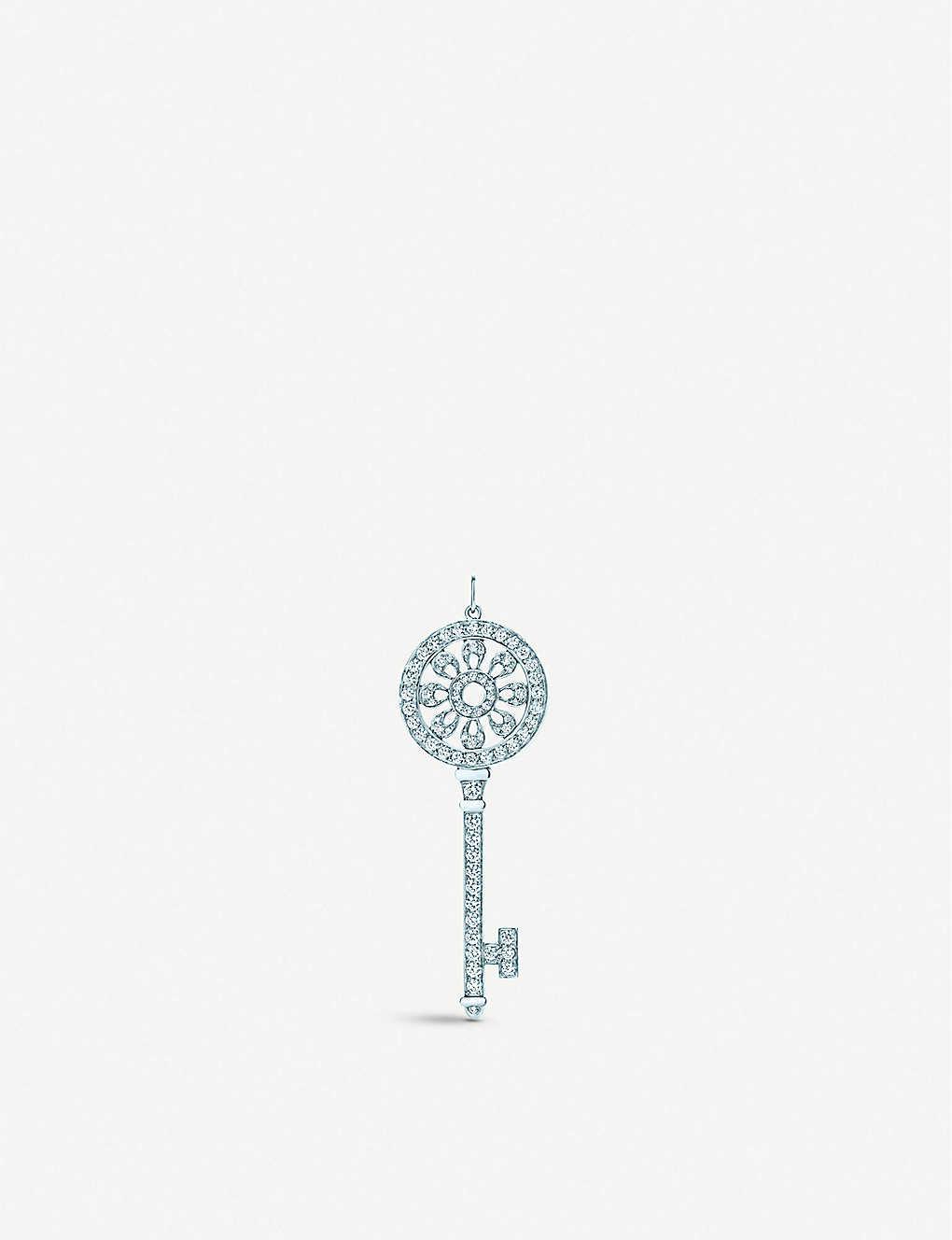 96c46483e25c TIFFANY   CO - Tiffany Keys petals key diamond pendant in platinum ...