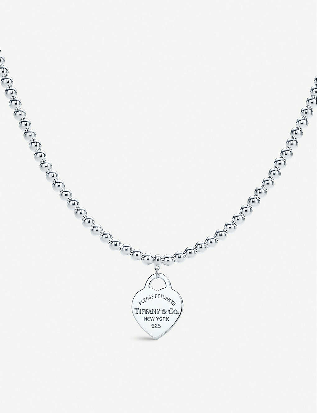 Tiffany Co Return To Tiffany Heart Tag In Sterling Silver On A Bead Necklace Selfridges Com