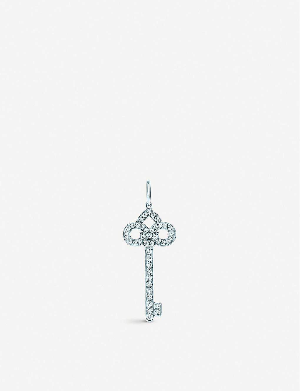 6aa6817d0 TIFFANY & CO Tiffany Keys fleur de lis key pendant in platinum with diamonds