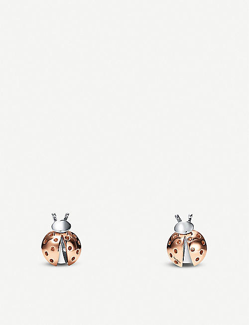 TIFFANY & CO Love Bugs Ladybug 18ct rose-gold and sterling silver earrings
