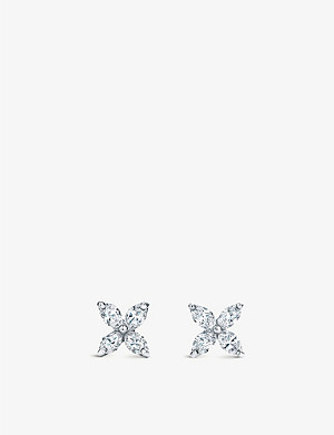 TIFFANY & CO Victoria diamond and platinum stud earrings