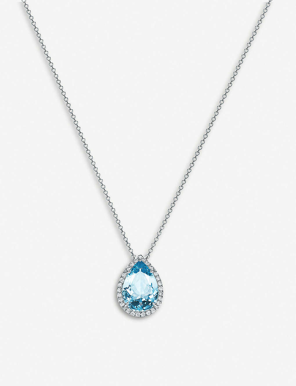 7bdaa281f TIFFANY & CO - Soleste platinum, diamond and aquamarine teadrop ...