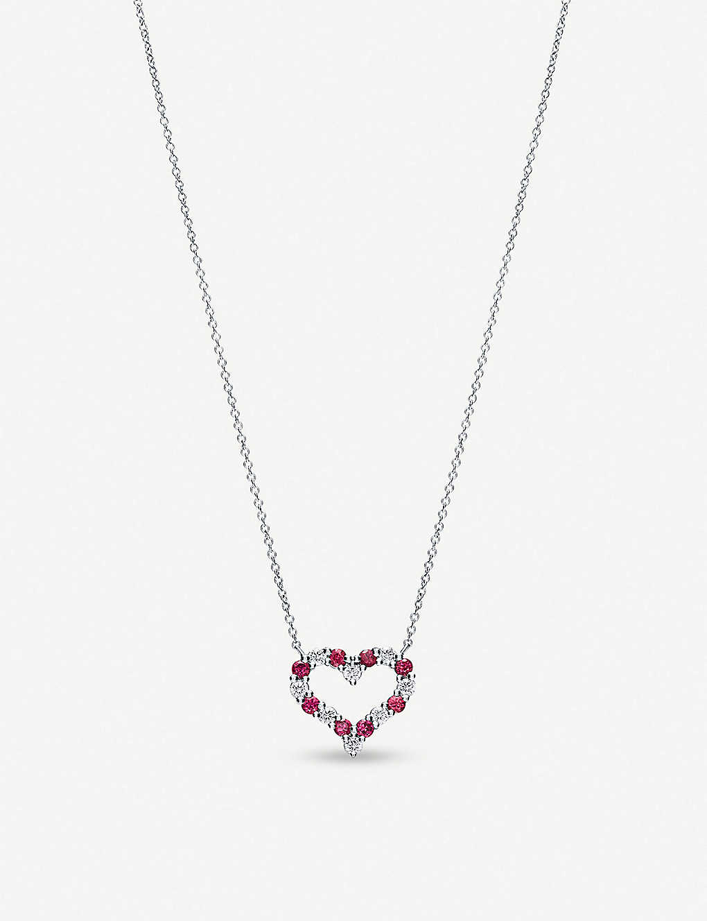 609e7d445f110 Heart platinum, ruby and diamond necklace