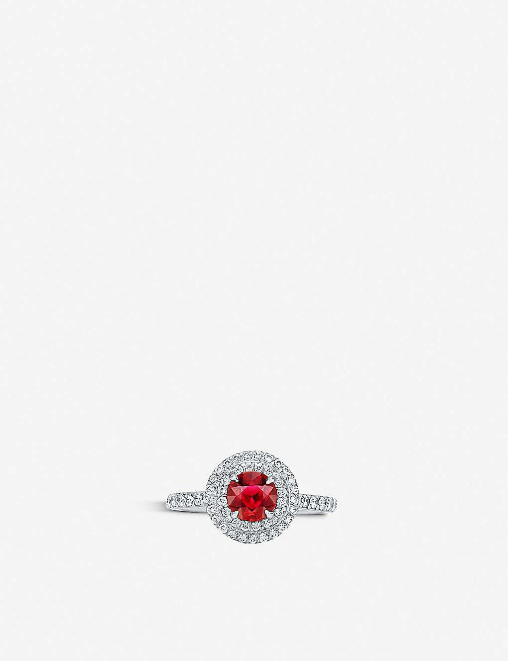 b4cc6e958 TIFFANY & CO - Soleste platinum, diamond and ruby ring | Selfridges.com