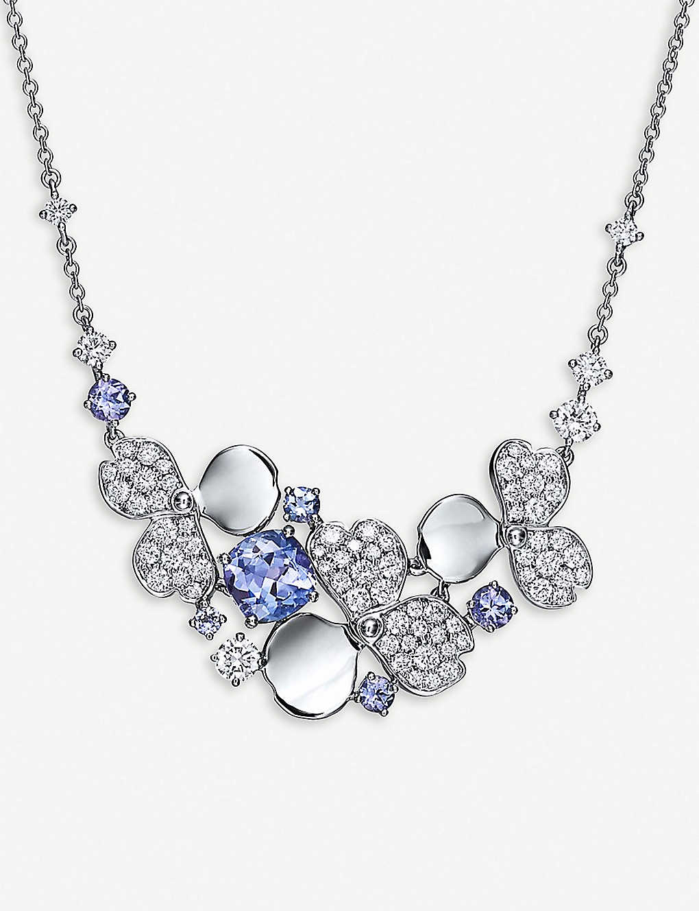 Paper Flowers Platinum Diamond And Tanzanite Necklace