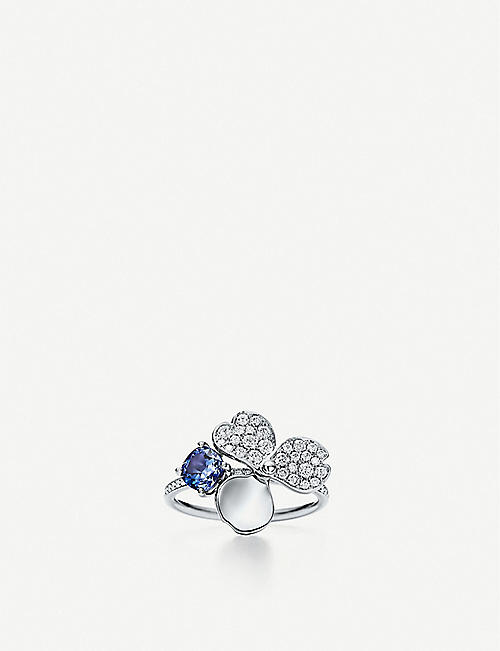 TIFFANY & CO Paper Flowers platinum, diamond and tanzanite ring
