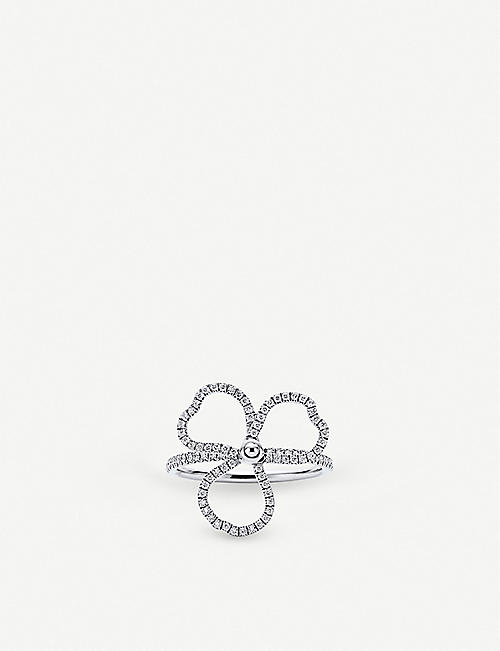 TIFFANY & CO Paper Flowers platinum and diamond open-flower ring