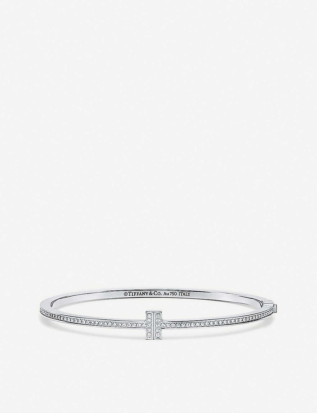 7ad58300c TIFFANY & CO - Tiffany T Chain 18ct white-gold and diamond hinged ...