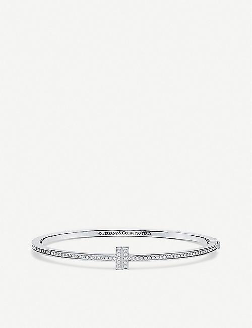 8698897a6 TIFFANY & CO Tiffany T Chain 18ct white-gold and diamond hinged bangle