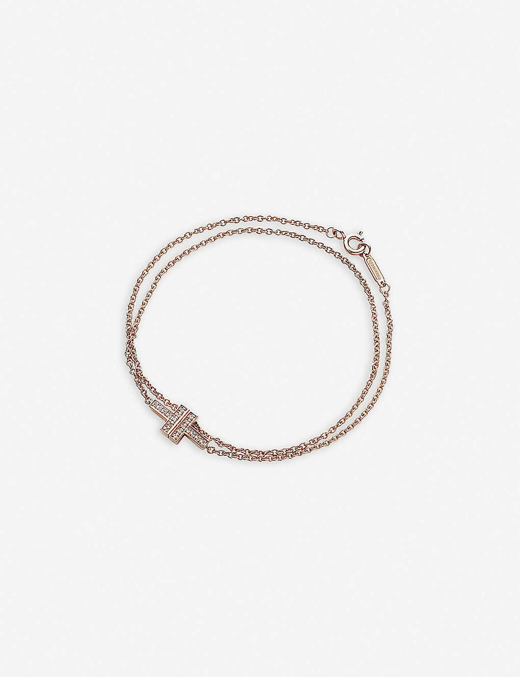 bcdbfe217 TIFFANY & CO - Tiffany T Chain 18ct rose-gold and diamond bracelet ...